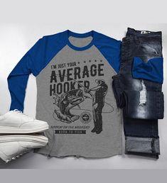 71606e6ce Men's Funny Fishing T-Shirt Average Hooker Vintage Shirt Fisherman Tee 3/4  Sleeve Raglan