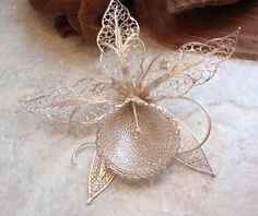 Large Filigree Orchid Brooch Sterling Silver