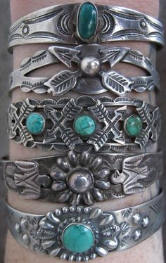 Lot Vtg Navajo Old Pawn Fred Harvey Era Sterling Silver Turquoise Cuff Bracelet | eBay