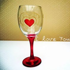 Valentine Heart Wine Glass  Hand painted by dawitchi on Etsy, £2.00