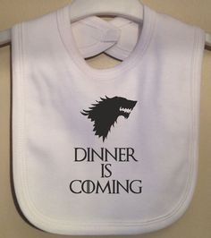 Dinner is Coming baby bib - Game of Thrones inspired - complete with wolf picture At Twinkle Jelly Designs each garment has been designed