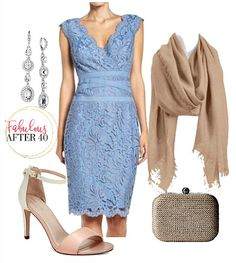 Blue Lace Dress with ribbon - Romantic and appropriate for wedding guest attire. Evening Wedding Attire, What To Wear To A Wedding, Party Dress Outfits, Lace Bride, Tea Length Wedding Dress, Wedding Dresses, Vintage Dresses, Lace Dress, Fashion Dresses