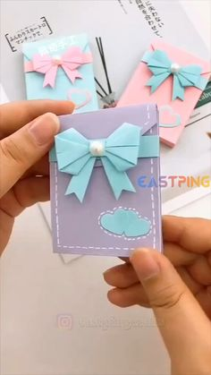 Cool Paper Crafts, Paper Crafts Origami, Diy Crafts For Gifts, Creative Crafts, Easy Crafts, Money Making Crafts, Paper Crafting, Instruções Origami, Diy Origami Cards