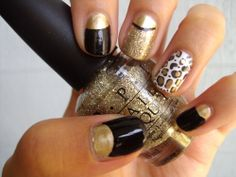Half Moon Gold, Glitter & Leopard  Gold: China Glaze's PassionBlack: OPI's Black OnyxWhite: OPI's Alpine SnowGlitter: OPI's Spark De TriompheLeopard print made with Konad plate m57