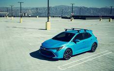 تحميل خلفيات تويوتا كورولا هاتشباك, 4k, وقوف السيارات, 2019 السيارات, كورولا الجديدة, السيارات اليابانية, كورولا زرقاء, تويوتا