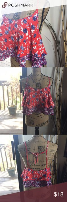 🆕 k͓̽i͓̽m͓̽c͓̽h͓̽i͓̽ b͓̽l͓̽u͓̽e͓̽ floral crop top Super cute! UO brand. 100% rayon. 👺NO TRADES DONT ASK! ✌🏼️Transactions through posh only!  😻 friendly home 💃🏼 if you ask a question about an item, please be ready to purchase (serious buyers only) ❤️Color may vary in person! 💗⭐️Bundles of 5+ LISTINGS are 5️⃣0️⃣% off! ⭐️buyer pays extra shipping if likely to be over 5 lbs 🙋thanks for looking! Urban Outfitters Tops Crop Tops