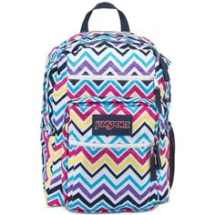 Jansport Big Student Backpack in Multi Saucy Chevron ($46) ❤ liked on Polyvore featuring bags, backpacks, multi sauc, rucksack bag, chevron print bag, chevron backpack, day pack backpack and chevron bag