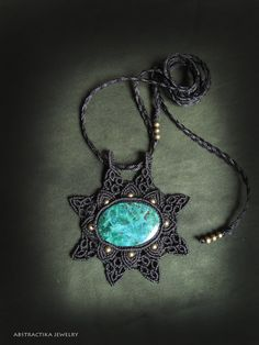 Macrame pendant with chrisocolla gemstone. by AbstractikaCrafts