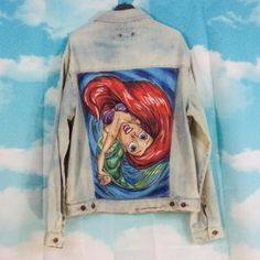 c3309a1d2130 Blue hand-washed blue jeans jacket Unique pattern Pattern Little mermaid  Size M   L Hand painted by K4U-Créations