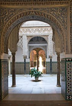 Alcazar Palace interior, Seville Spain