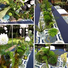 This is the best photo I could find to represent what I am looking for on the tables so far as the botanicals. There will not be as many piled up on each other.