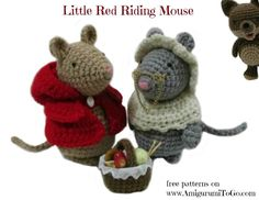 written pattern here http://www.amigurumitogo.com/2013/11/Little-Red-Riding-Mouse-Free-Amigurumi-Pattern.html