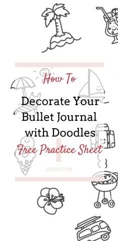 How to Make Your Bullet Journal Pop! Free planner printables for adding super-cute doodles. Make your Bujo pages pop with color and whimsy, even if you're not the least bit artistic. Bullet Journal Printables, Bullet Journal Hacks, Bullet Journal How To Start A, Bullet Journal Layout, Bullet Journal Inspiration, Journal Ideas, Bullet Journals, Journal Art, Journal Prompts