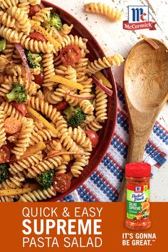 Get the perfect pasta salad recipe for your summer BBQ! Mix pasta with your favorite vegetables, Italian dressing, and McCormick Perfect Pinch Salad Supreme Seasoning for a simple yet flavorful side dish.