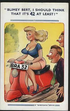 Postcard - Comic Card of a Motor-Scooter by Bamforth. Funny Cartoon Pictures, Funny Picture Jokes, Funny Images, Humor Satirico, Man Humor, Funny Humor, Sexy Cartoons, Adult Dirty Jokes, Adult Humor