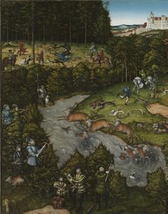 Hunting near Hartenfels Castle | Cleveland Museum of Art   Lucas Cranach the Elder (German, 1472-1553)  oil, originally on wood, transferred to masonite, Framed - h:133.00 w:185.50 d:7.30 cm (h:52 5/16 w:73 d:2 13/16 inches) Unframed - h:116.80 w:170.20 cm (h:45 15/16 w:67 inches). detaliu