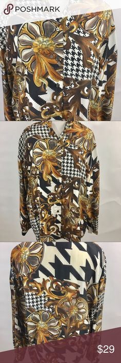 Express silk blouse size medium Floral and houndstooth print. Versatile item. Looks great with jeans, career wear or dressed up for a night out. Colors may vary slightly to lighting and photos. No holes, rips or stains. Measurements approximately as shown. ❌Smoke and pet free home. ⚡️Same/next day shipping. 💲Save by bundling or make a reasonable offer through the offer button. 🚫No holds, trades or modeling. 📦Wrapped and shipped with care. Express Tops Blouses