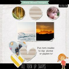 Quality DigiScrap Freebies: All Torn Up Shapes photo frames freebie from Tracy Martin Designs