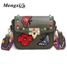 844cc2904027 2018 Butterfly Animal Pattern Fashion Mini Women Bags Rivets Embroidery  Floral Bag Designer PU Leather Crossbody