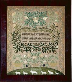 Elzabeth E. Woodward - at Eleanor T. Stephens Cream Ridge Seminary, Monmouth County, New Jersey - 1832. Wored in dense silke stitches on linen ground. Sold for 37,500 USD
