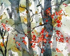 Forest Wilderness - Original Watercolor Painting - Top Of The World Do Pi Ke Watercolor Trees, Watercolor Landscape, Abstract Watercolor, Watercolor And Ink, Landscape Paintings, Watercolor Paintings, Landscapes, Watercolours, Forest Painting