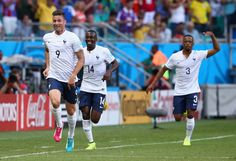 Olivier Giroud Photos Photos - Olivier Giroud of France celebrates scoring his team's first goal during the 2014 FIFA World Cup Brazil Group E match between Switzerland and France at Arena Fonte Nova on June 20, 2014 in Salvador, Brazil. - Switzerland v France: Group E
