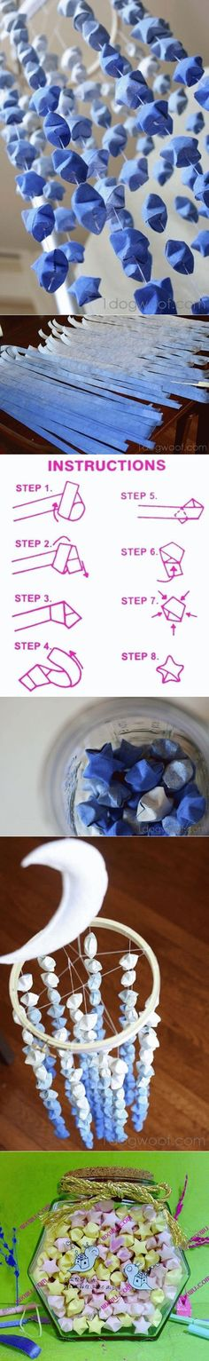 DIY Paper Folded Star Mobile Mehr