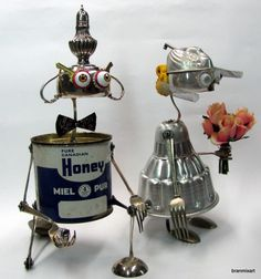 Recycled Art Sculptures in art  with Vintage Sculpture Reused recycled crafts Recycled mixed media metal art junk bots