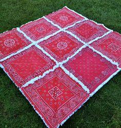 Picnic Blanket Red Bandana Rag Quilt
