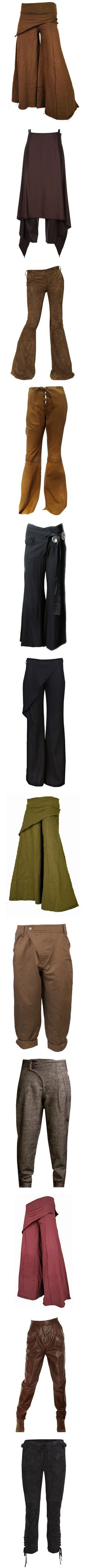 Fantasy Wear: Adventure Pants by savagedamsel on Polyvore featuring pants, bottoms, calças, brown pants, boho pants, boho chic pants, bohemian pants, skirts, wool trousers and wool pants
