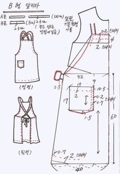 how to turn a dress pattern into a bib apron Sewing Patterns Free, Free Sewing, Clothing Patterns, Sewing Hacks, Sewing Crafts, Sewing Projects, Bib Apron, Apron Dress, Sewing Aprons