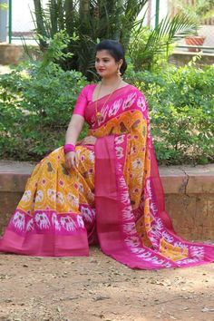 Soft cotton chanderi sarees with pochampally ikkat design at (PID: Fill for pure it's a pochampally ikkat . Fabric - soft cotton chanderi sarees with zari borders. Grey Saree, Orange Saree, Pink Saree, Beautiful Blouses, Beautiful Saree, Cotton Blouses, Cotton Saree, Ikkat Pattu Sarees, Handloom Saree