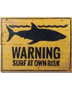 Warning Surf Shark Sign Insegna