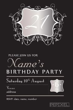 21th Birthday Invitations - Evening Chic. 21st Birthday InvitationsBirthday Invitation TemplatesPhoto ...