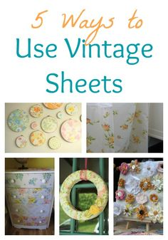 Decor ideas using old sheets as fabric from Infarrantly Creative. I am always looking for new ways to create things from vintage sheets :) Old Sheets, Vintage Sheets, Vintage Linen, Craft Projects, Sewing Projects, Craft Ideas, Decorating Ideas, Decor Ideas, Crafts To Do