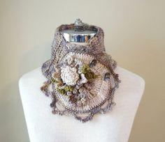 Floral Crochet Scarf beige with Floral by ValerieBaberDesigns