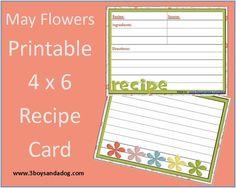 MAY FLOWERS: FREE PRINTABLE 4×6 RECIPE CARD (MENU PLAN MONDAY)