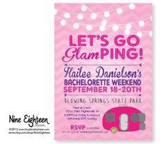 Glamping Bachelorette Party Invitation, Camping, Outdoor Bridal Shower. Custom PDF/JPG. I design, you print.