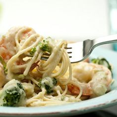 Stir-fried broccoli and garlic are perfect partners for shrimp in this savory sauce for rice or spaghetti.