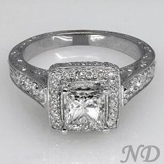 Engagement Rings :: 1.57 ct. Princess Cut Antique Diamond Engagement Ring