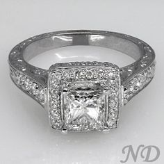 Engagement Rings :: 1.57 ct. Princess Cut Antique Diamond Engagement Ring