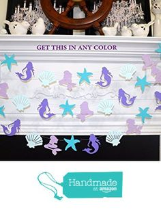 Mermaid Party Decoration, Mermaid Birthday decorations, Mermaid Garland, purple, lila, blue, Paper Garland, under the sea, seashell garland, mermaid decoration from ANY OCCASION BANNERS AND GARLANDS https://www.amazon.com/dp/B01M02BU6W/ref=hnd_sw_r_pi_dp_Zkyuyb7S0WXS9 #handmadeatamazon