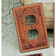 Tooled Leather Outlet Cover-SR