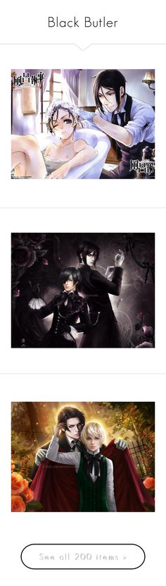 """""""Black Butler"""" by xx-anime-freak-xx ❤ liked on Polyvore featuring black butler, anime, drawings, kuroshitsuji, render, manga, effect, filler, cartoon and characters"""