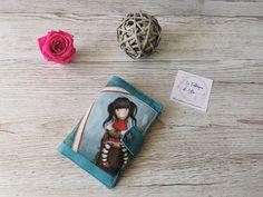 Portefeuille Compère en bleu coupon Santoro cousu par Vanessa - Patron Sacôtin