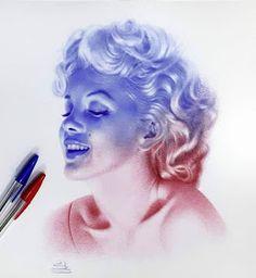Celebrities and Non - Ballpoint Pen Portraits Biro Art, Ballpoint Pen Art, Ballpoint Pen Drawing, Pencil Art Drawings, Art Drawings Sketches, Stylo Art, Pen Illustration, Pen Sketch, White Art