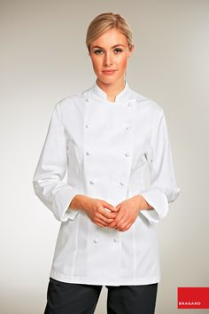 'The Grand Chef Lady' Chef Jacket in Long Fiber Pima Premium Cotton, the finest cotton in the world! - Bragard Canada offers the highest quality chef jackets, chef pants, chef aprons, and chef accessories in the world Grand Chef, Chef Apron, Work Uniforms, Uniform Design, Double Breasted, Chef Jackets, Female, Lady, Sleeves