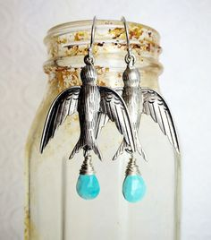 Barn Swallows With Faceted Turquoise Barn Swallow, Swallows, Wind Chimes, Sterling Silver Earrings, Jewelry Design, Turquoise, Drop Earrings, Swallow, Drop Earring