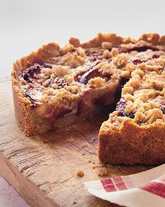 I used rehydrated cherries and plums it was SOOOO good!  I love the custard filling with the fruit and the nutty crust!