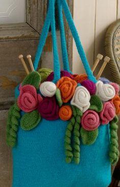 Rose Garden Tote - felted crochet